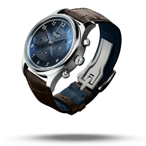 Guilloche Chronograph blue mechnical watch Staudt