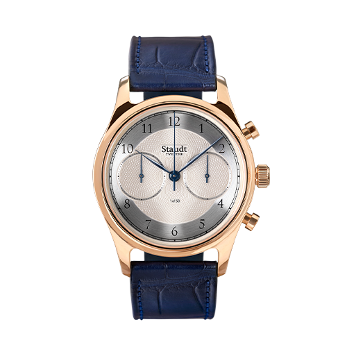Guilloche Chronograph gold mechnical watch Staudt