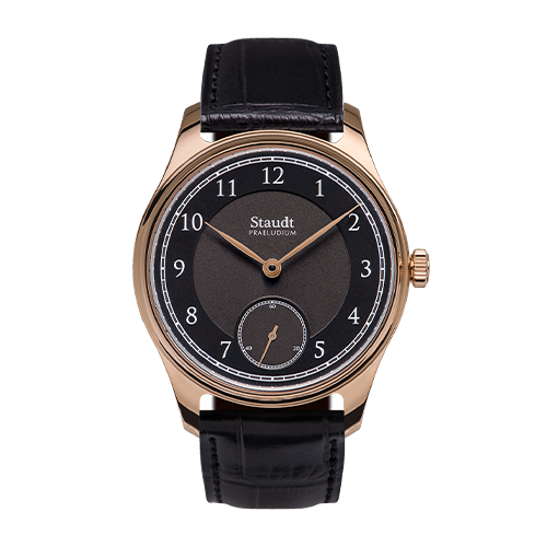 Mechanical hand wound black gold watch Staudt