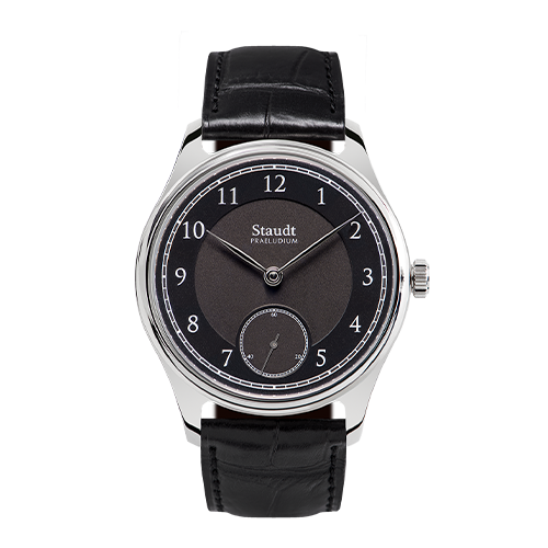 Mechanical hand wound black steel watch Staudt